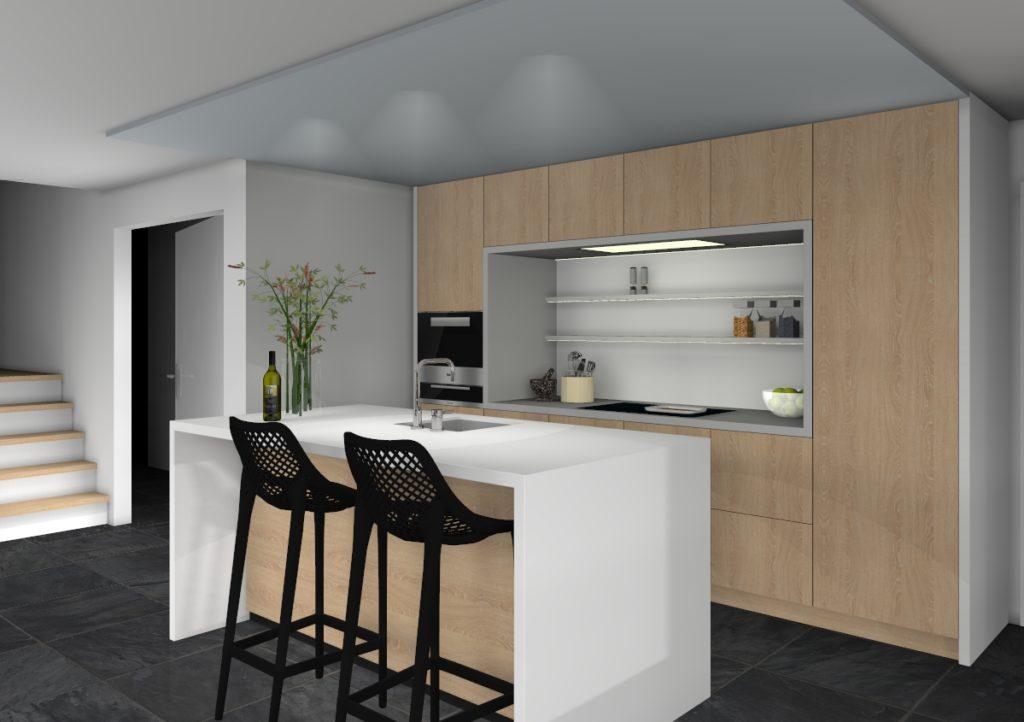 3d ontwerp eiken keuken met witte nis en eiland